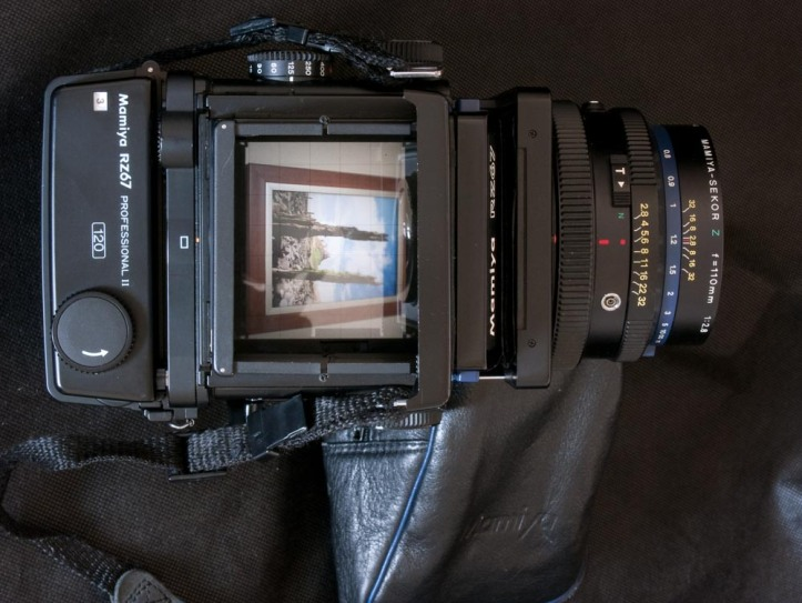 The waist-level viewfinder of the Mamiya RZ67