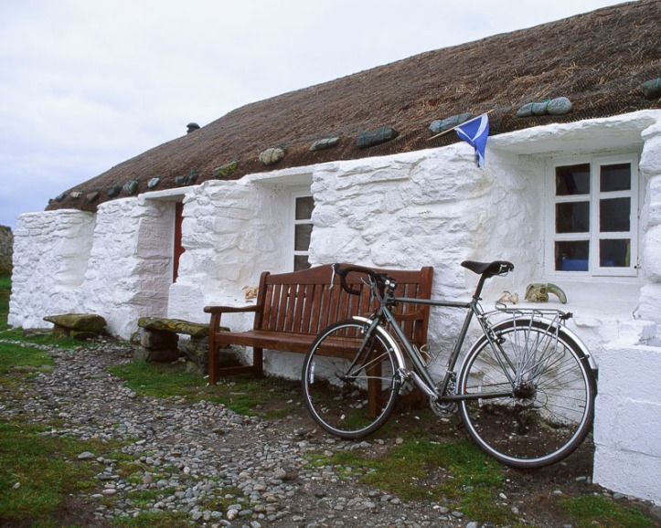 The Gatliff Trust hostel on the Isle of Berneray. I arrived on a very storm night and locked my bike to the seat in case it blowed into the sea !