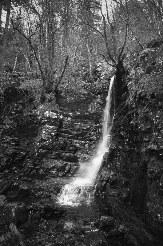 A semi-hidden waterfall off the A635, which would probably be missed by motorists