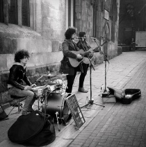The Glass Caves playing in York - testing out a 1955 Aglilux Agilfold Mk III