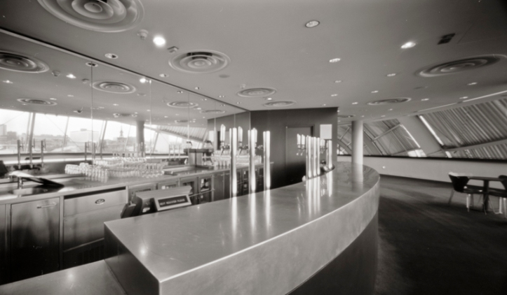 Pinhole image of the second floor bar at The Sage. On the back wall are mirrors reflecting 55 Degrees North and All Saints Church.