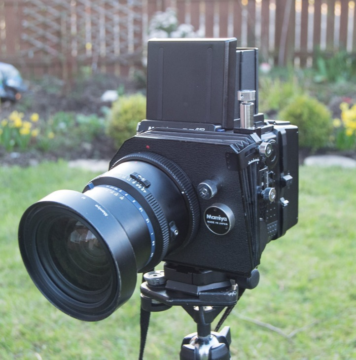 The adapter and 75mm lens mounted on my Mamiya RZ67