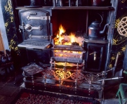 "A roaring fire in one of the ""pit village"" houses at Beamish Museum ; some yummy scones had just come out of the oven on the left of the fire"